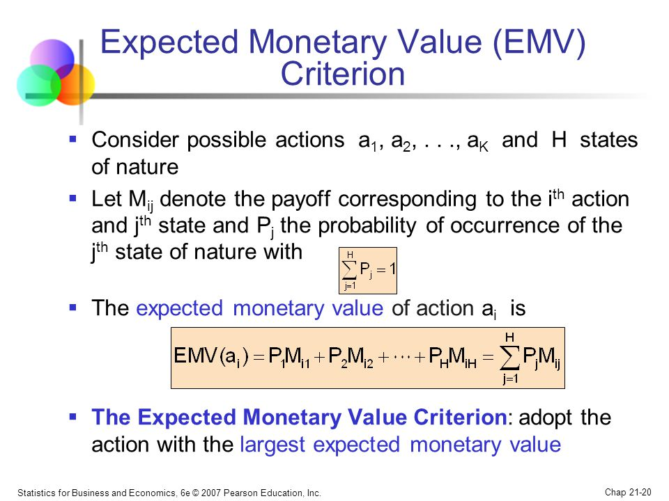 Statistics for Business and Economics, 6e © 2007 Pearson Education, Inc. Chap 21-20 Expected Monetary Value (EMV) Criterion  Consider possible action
