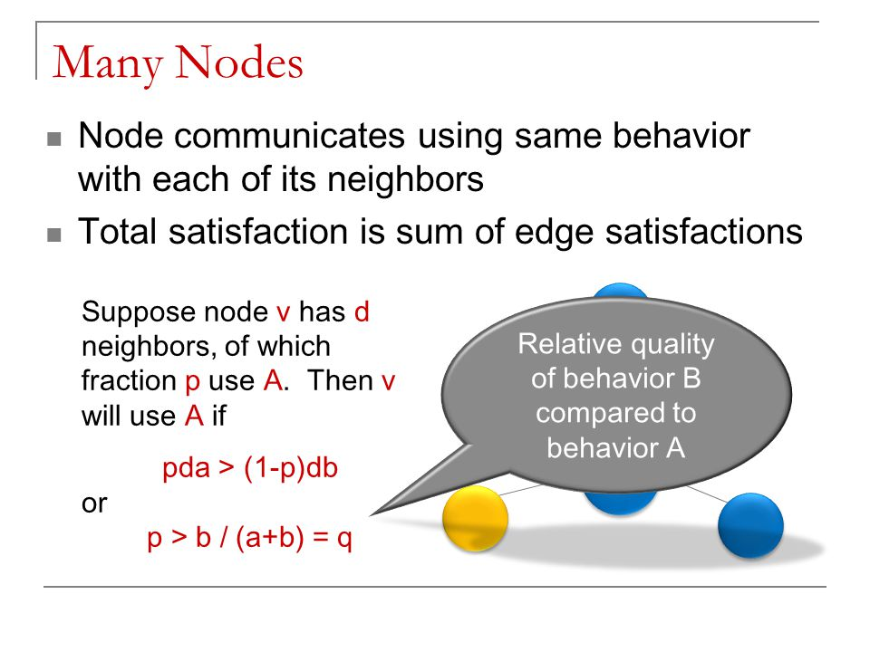 Many Nodes v v Node communicates using same behavior with each of its neighbors Total satisfaction is sum of edge satisfactions Suppose node v has d n
