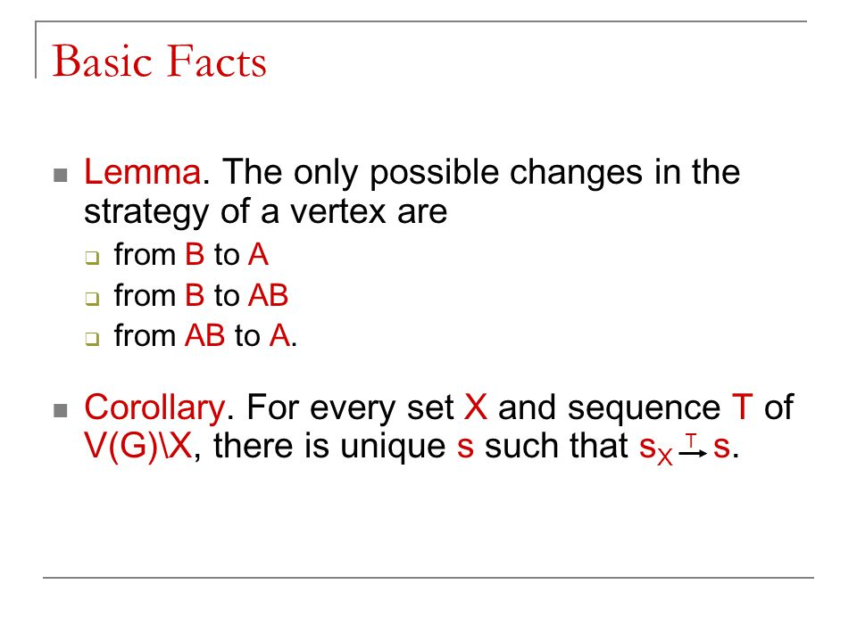 Basic Facts Lemma. The only possible changes in the strategy of a vertex are  from B to A  from B to AB  from AB to A. Corollary. For every set X a