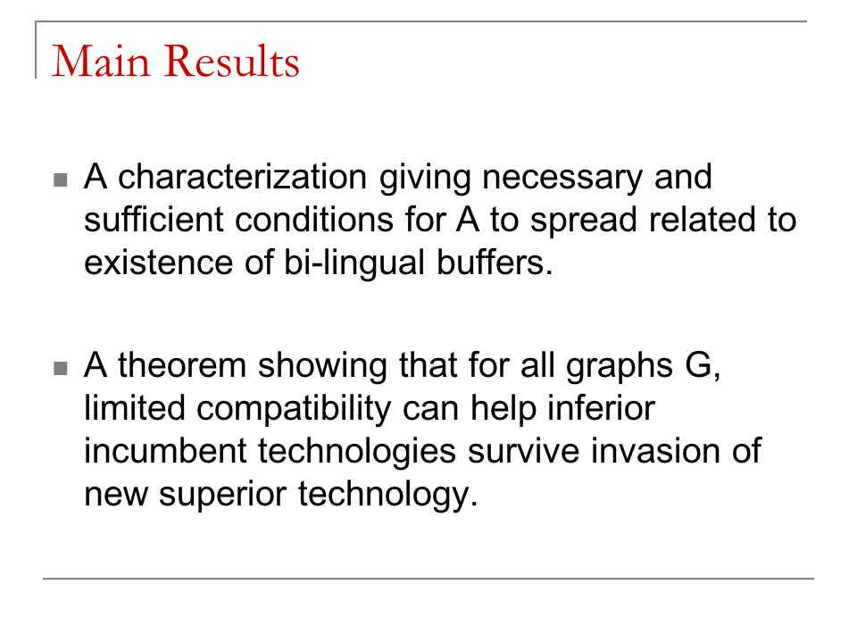 Main Results A characterization giving necessary and sufficient conditions for A to spread related to existence of bi-lingual buffers. A theorem showi
