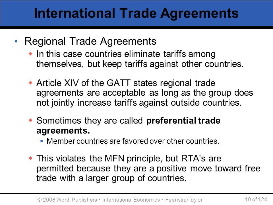 © 2008 Worth Publishers ▪ International Economics ▪ Feenstra/Taylor 10 of 124 International Trade Agreements Regional Trade Agreements  In this case