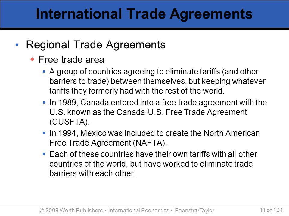 © 2008 Worth Publishers ▪ International Economics ▪ Feenstra/Taylor 11 of 124 International Trade Agreements Regional Trade Agreements  Free trade ar