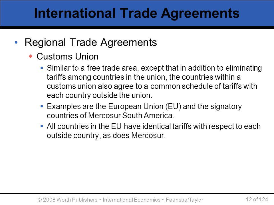 © 2008 Worth Publishers ▪ International Economics ▪ Feenstra/Taylor 12 of 124 International Trade Agreements Regional Trade Agreements  Customs Union