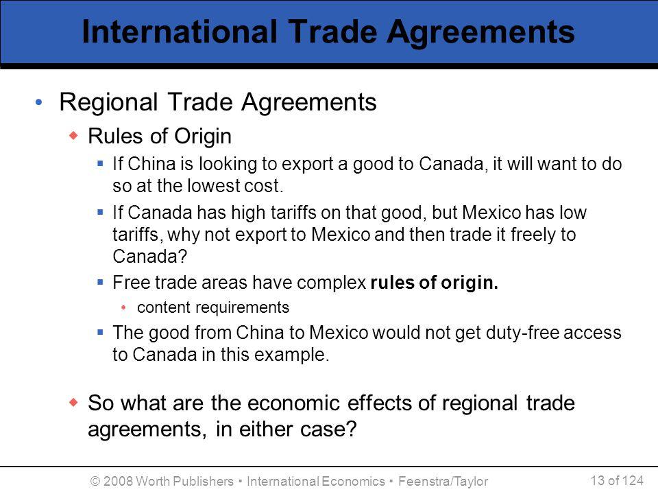 © 2008 Worth Publishers ▪ International Economics ▪ Feenstra/Taylor 13 of 124 International Trade Agreements Regional Trade Agreements  Rules of Orig