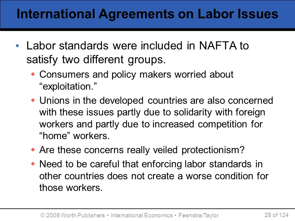 © 2008 Worth Publishers ▪ International Economics ▪ Feenstra/Taylor 28 of 124 International Agreements on Labor Issues Labor standards were included i