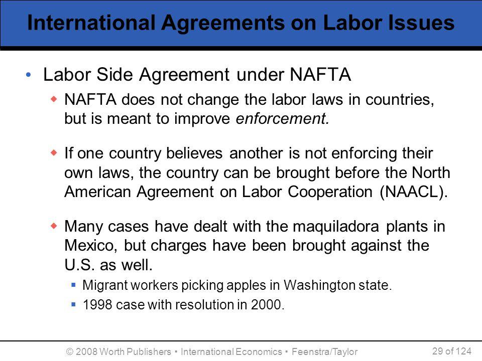 © 2008 Worth Publishers ▪ International Economics ▪ Feenstra/Taylor 29 of 124 International Agreements on Labor Issues Labor Side Agreement under NAFT