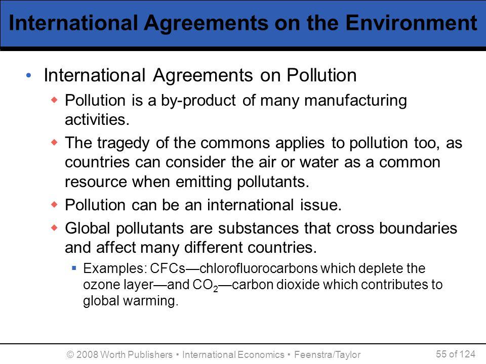 © 2008 Worth Publishers ▪ International Economics ▪ Feenstra/Taylor 55 of 124 International Agreements on the Environment International Agreements on