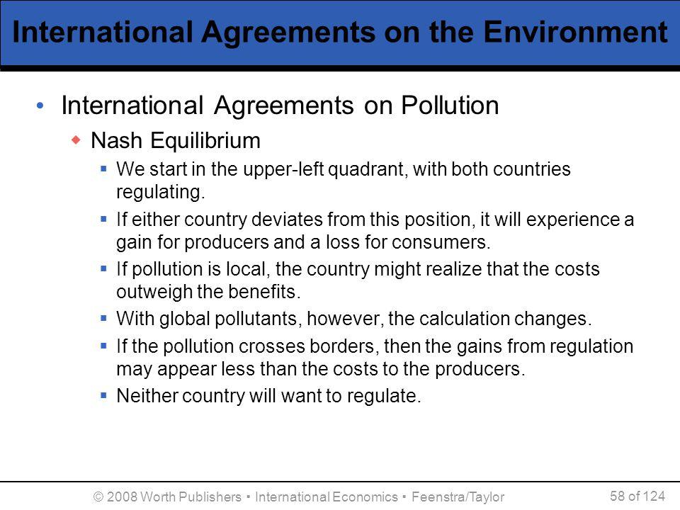 © 2008 Worth Publishers ▪ International Economics ▪ Feenstra/Taylor 58 of 124 International Agreements on the Environment International Agreements on