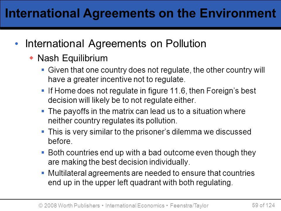 © 2008 Worth Publishers ▪ International Economics ▪ Feenstra/Taylor 59 of 124 International Agreements on the Environment International Agreements on