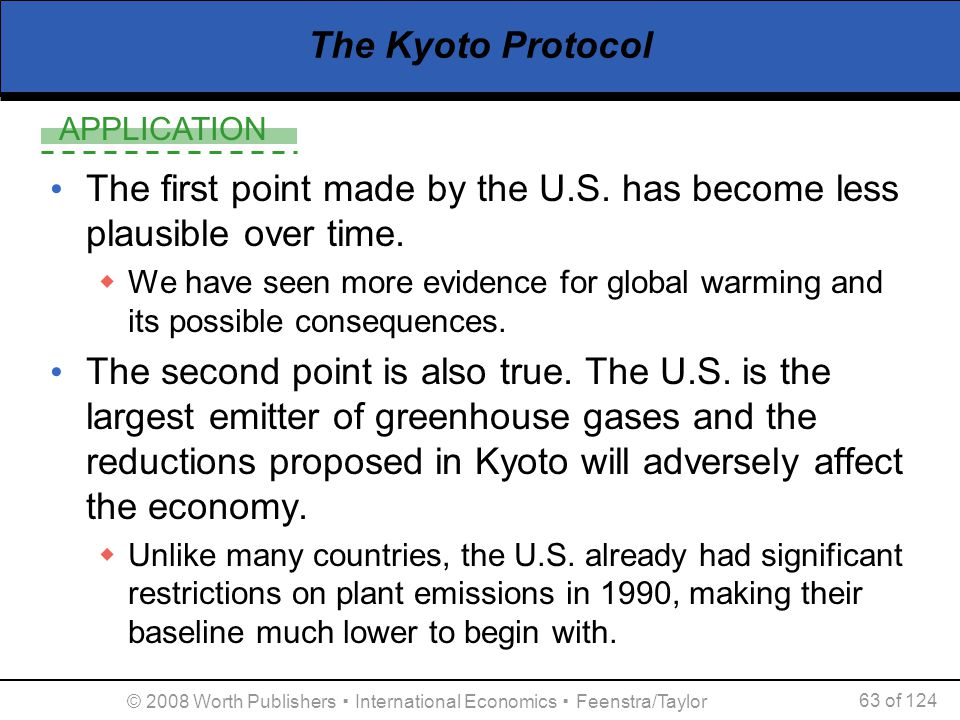APPLICATION © 2008 Worth Publishers ▪ International Economics ▪ Feenstra/Taylor 63 of 124 The Kyoto Protocol The first point made by the U.S. has beco