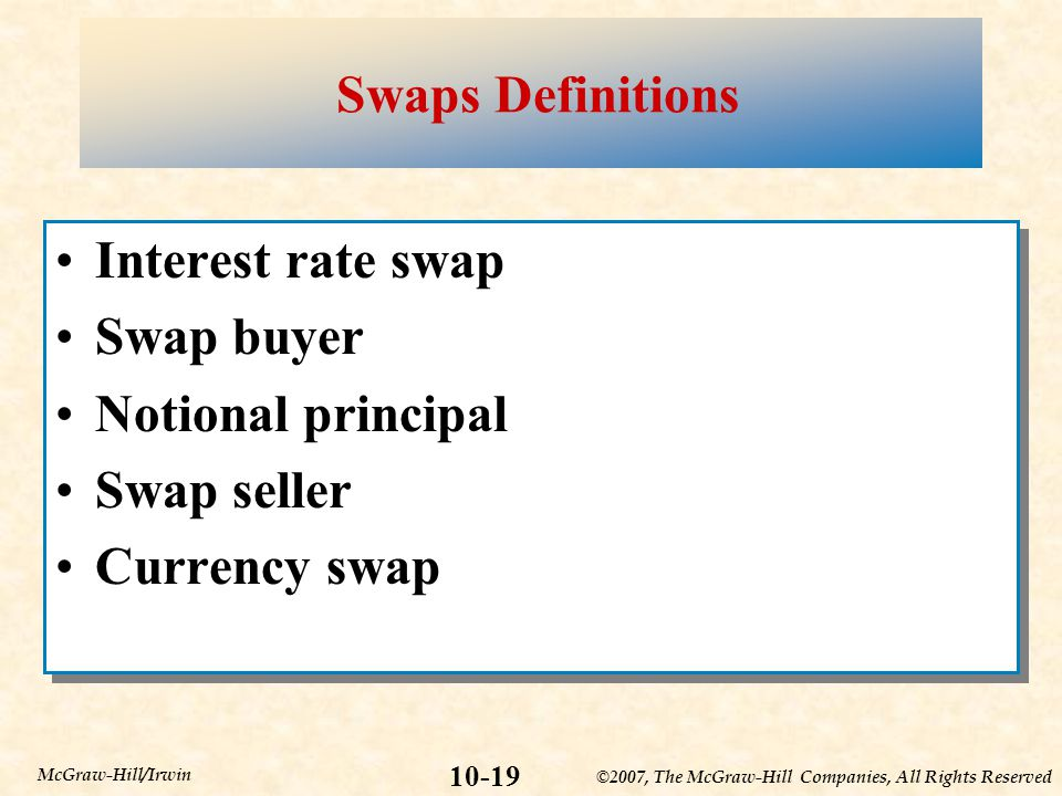 ©2007, The McGraw-Hill Companies, All Rights Reserved 10-19 McGraw-Hill/Irwin Swaps Definitions Interest rate swap Swap buyer Notional principal Swap seller Currency swap Interest rate swap Swap buyer Notional principal Swap seller Currency swap