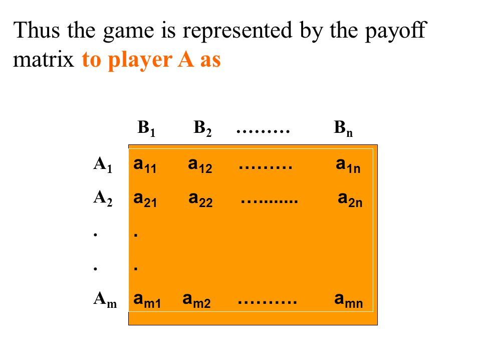 Thus the game is represented by the payoff matrix to player A as a 11 a 12 ……… a 1n a 21 a 22 …........