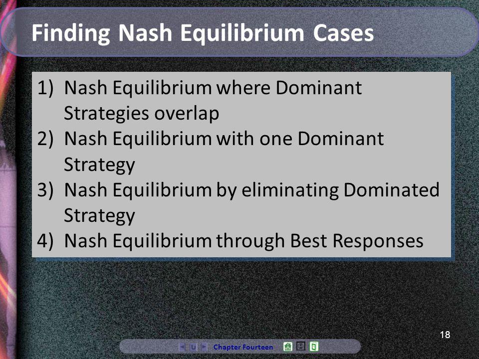 18 Chapter Fourteen Finding Nash Equilibrium Cases 1)Nash Equilibrium where Dominant Strategies overlap 2)Nash Equilibrium with one Dominant Strategy 3)Nash Equilibrium by eliminating Dominated Strategy 4)Nash Equilibrium through Best Responses 1)Nash Equilibrium where Dominant Strategies overlap 2)Nash Equilibrium with one Dominant Strategy 3)Nash Equilibrium by eliminating Dominated Strategy 4)Nash Equilibrium through Best Responses
