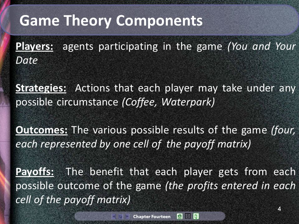 4 Chapter Fourteen Game Theory Components Players: agents participating in the game (You and Your Date Strategies: Actions that each player may take under any possible circumstance (Coffee, Waterpark) Outcomes: The various possible results of the game (four, each represented by one cell of the payoff matrix) Payoffs: The benefit that each player gets from each possible outcome of the game (the profits entered in each cell of the payoff matrix)