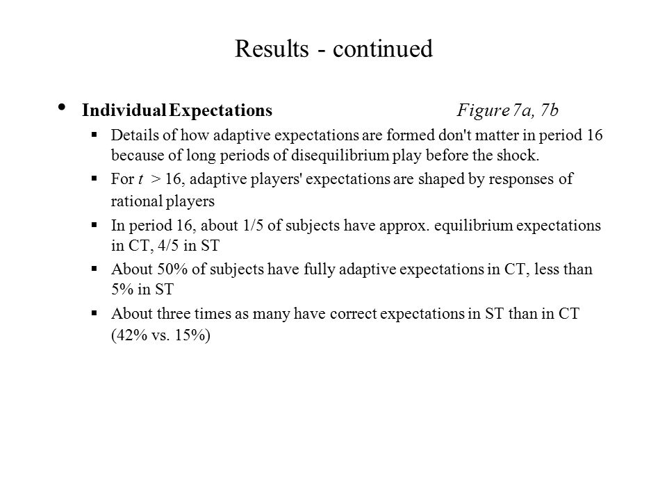 Results - continued Individual Expectations Figure 7a, 7b  Details of how adaptive expectations are formed don t matter in period 16 because of long periods of disequilibrium play before the shock.