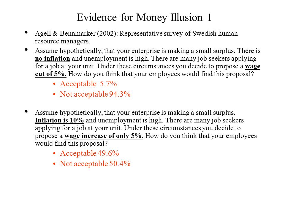 Evidence for Money Illusion 1 Agell & Bennmarker (2002): Representative survey of Swedish human resource managers.