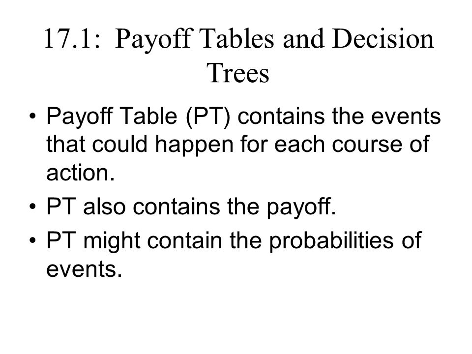 17.1: Payoff Tables and Decision Trees Payoff Table (PT) contains the events that could happen for each course of action.