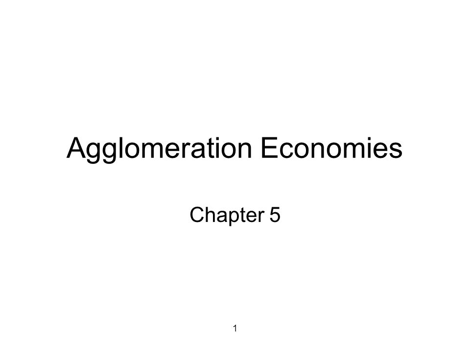 1 Agglomeration Economies Chapter 5