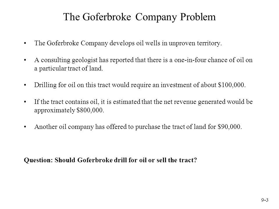 9-3 The Goferbroke Company Problem The Goferbroke Company develops oil wells in unproven territory.