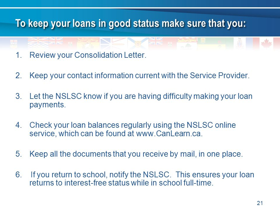 21 1.Review your Consolidation Letter.