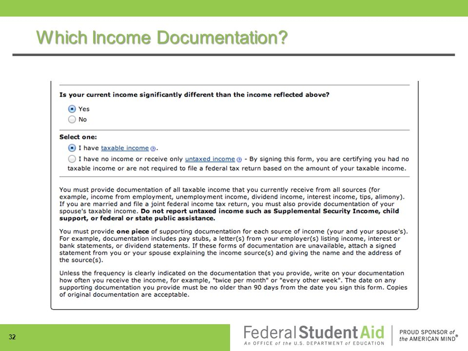 Which Income Documentation 32