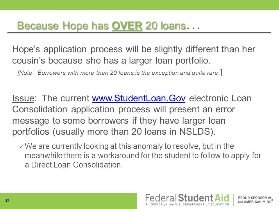 Because Hope has OVER 20 loans Because Hope has OVER 20 loans … Hope's application process will be slightly different than her cousin's because she has a larger loan portfolio.
