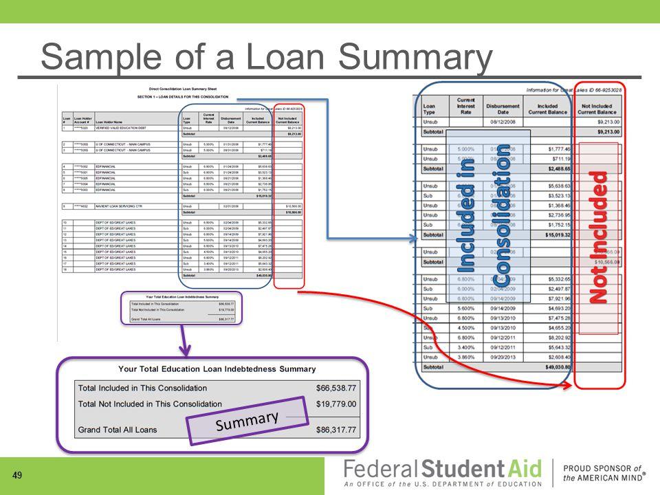 Sample of a Loan Summary Summary 49