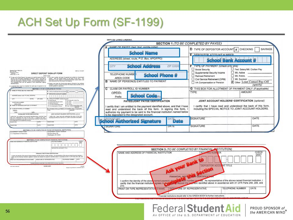 ACH Set Up Form (SF-1199) 56