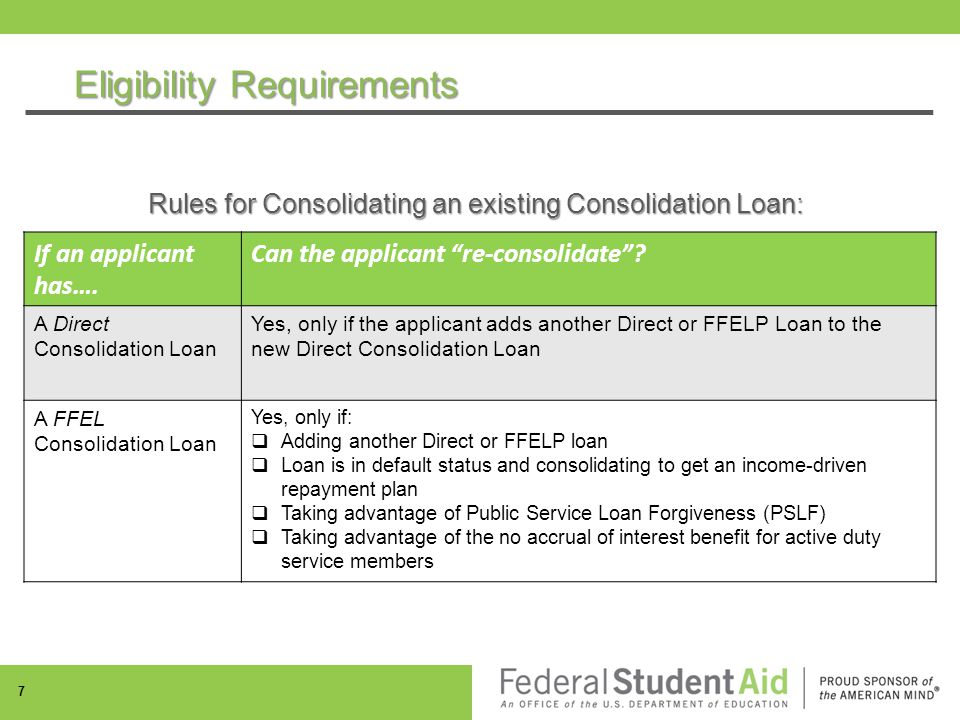 Eligibility Requirements Rules for Consolidating an existing Consolidation Loan: If an applicant has….