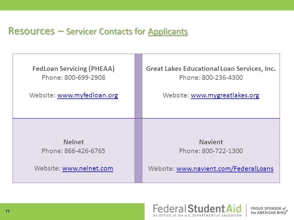 71 FedLoan Servicing (PHEAA) Phone: 800-699-2908 Website: www.myfedloan.orgwww.myfedloan.org Great Lakes Educational Loan Services, Inc.