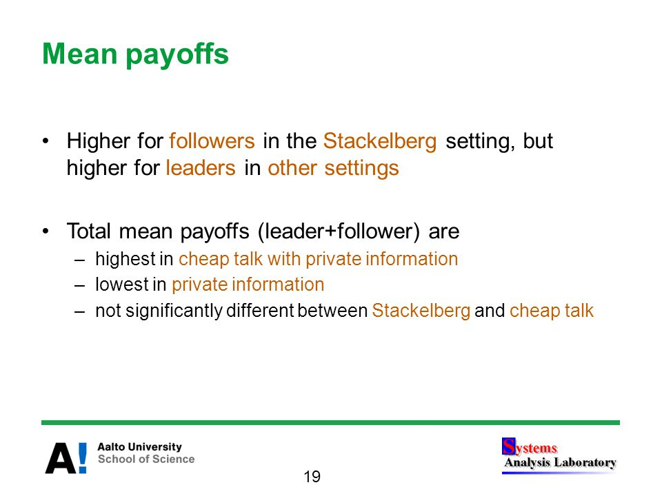 Higher for followers in the Stackelberg setting, but higher for leaders in other settings Total mean payoffs (leader+follower) are –highest in cheap talk with private information –lowest in private information –not significantly different between Stackelberg and cheap talk Mean payoffs 19