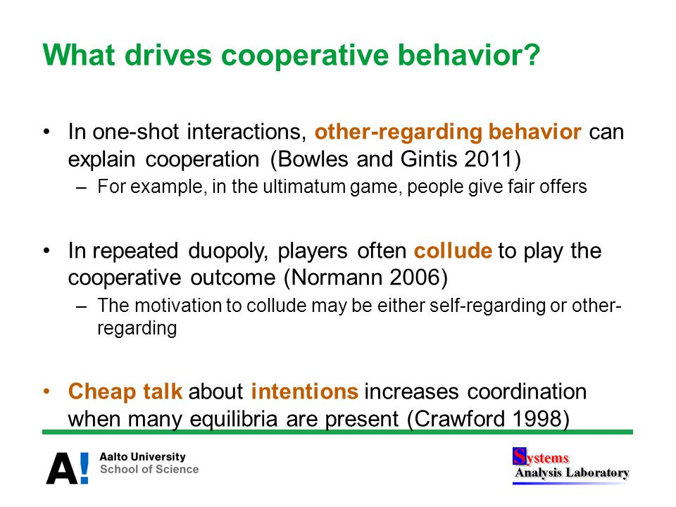 What drives cooperative behavior.
