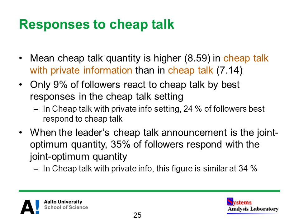 Responses to cheap talk Mean cheap talk quantity is higher (8.59) in cheap talk with private information than in cheap talk (7.14) Only 9% of followers react to cheap talk by best responses in the cheap talk setting –In Cheap talk with private info setting, 24 % of followers best respond to cheap talk When the leader's cheap talk announcement is the joint- optimum quantity, 35% of followers respond with the joint-optimum quantity –In Cheap talk with private info, this figure is similar at 34 % 25