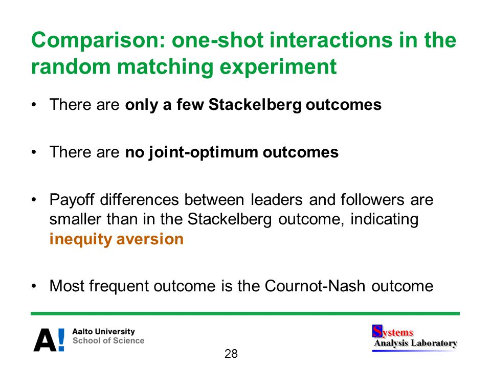 There are only a few Stackelberg outcomes There are no joint-optimum outcomes Payoff differences between leaders and followers are smaller than in the Stackelberg outcome, indicating inequity aversion Most frequent outcome is the Cournot-Nash outcome Comparison: one-shot interactions in the random matching experiment 28