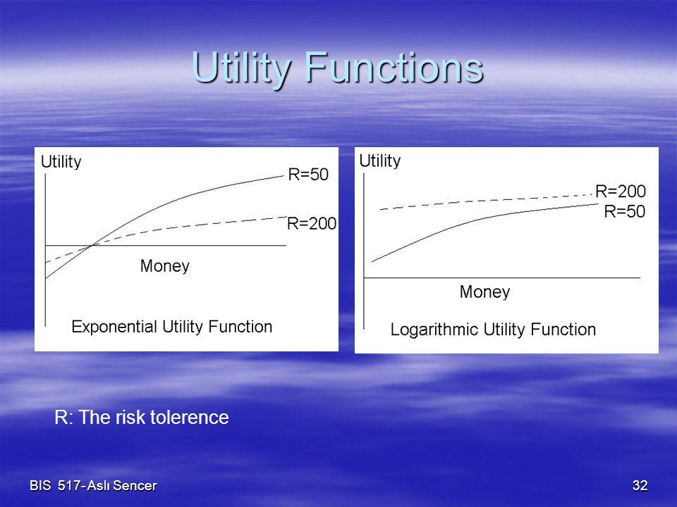 BIS 517- Aslı Sencer 32 Utility Functions R: The risk tolerence