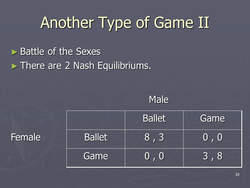 23 Another Type of Game II ► Battle of the Sexes ► There are 2 Nash Equilibriums.