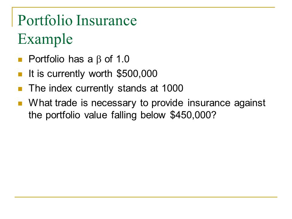 Portfolio Insurance Example Portfolio has a  of 1.0 It is currently worth $500,000 The index currently stands at 1000 What trade is necessary to provide insurance against the portfolio value falling below $450,000