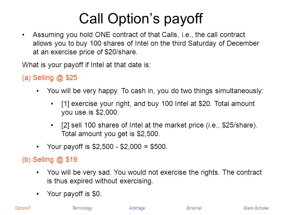 Call Option's payoff Options?TerminologyArbitrageBinomialBlack-Scholes Assuming you hold ONE contract of that Calls, i.e., the call contract allows yo