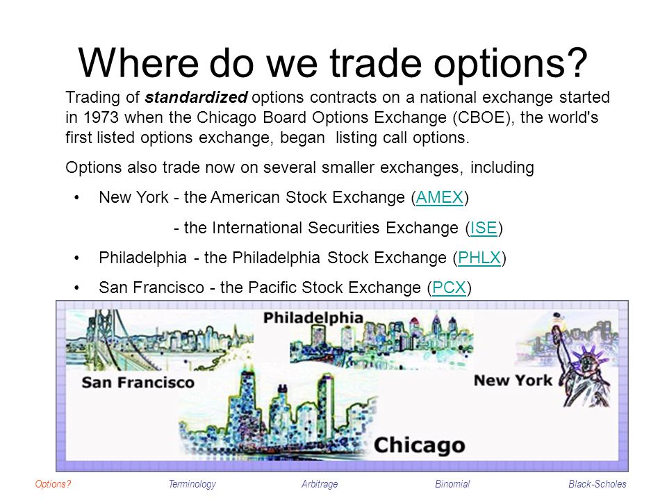 Where do we trade options? Options?TerminologyArbitrageBinomialBlack-Scholes Trading of standardized options contracts on a national exchange started