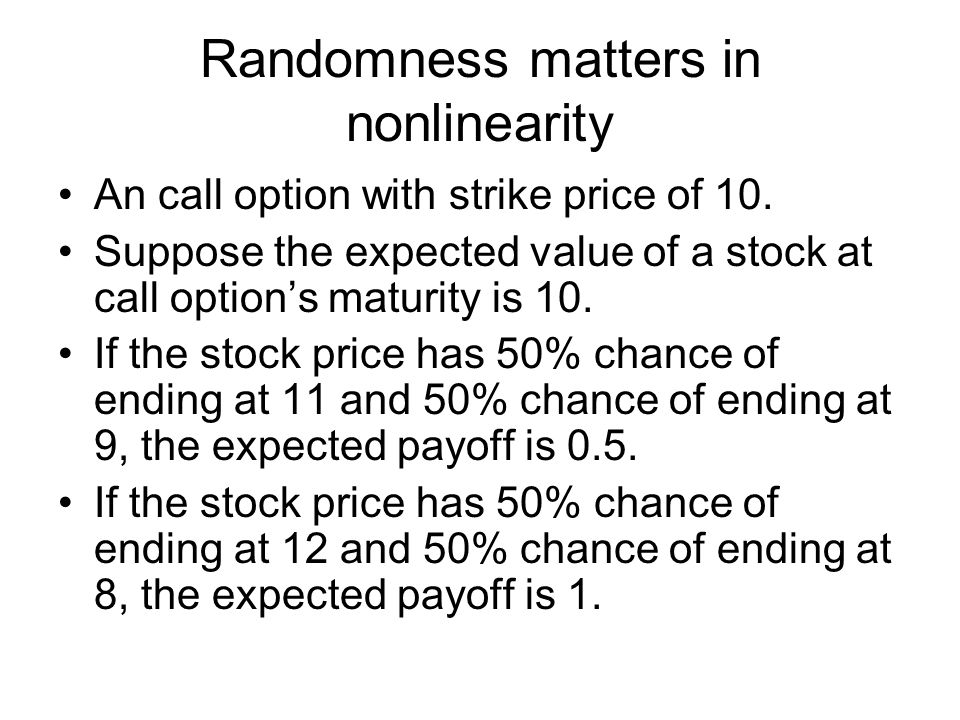 Randomness matters in nonlinearity An call option with strike price of 10.