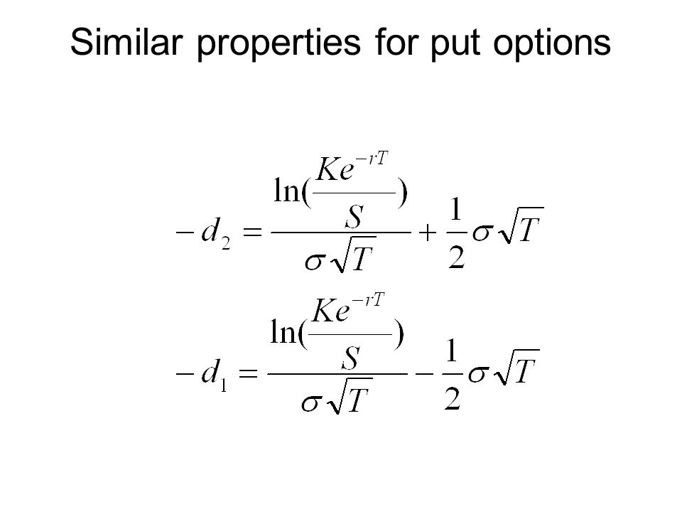 Similar properties for put options