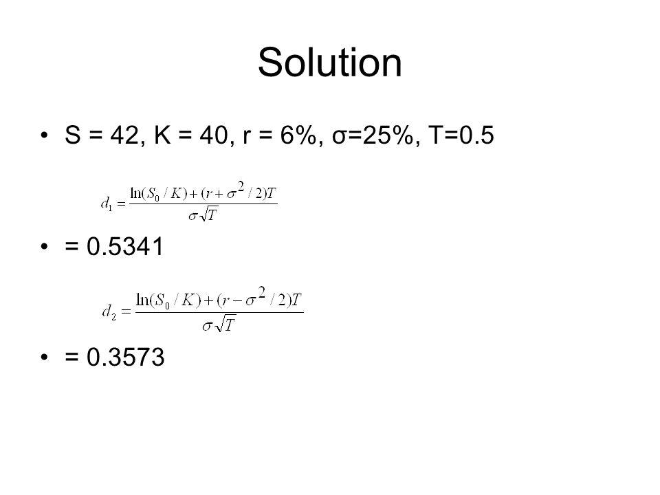 Solution S = 42, K = 40, r = 6%, σ=25%, T=0.5 = 0.5341 = 0.3573