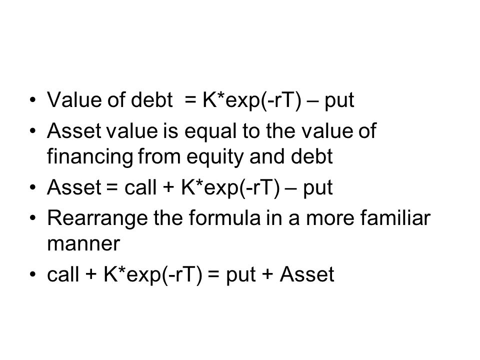 Value of debt = K*exp(-rT) – put Asset value is equal to the value of financing from equity and debt Asset = call + K*exp(-rT) – put Rearrange the formula in a more familiar manner call + K*exp(-rT) = put + Asset