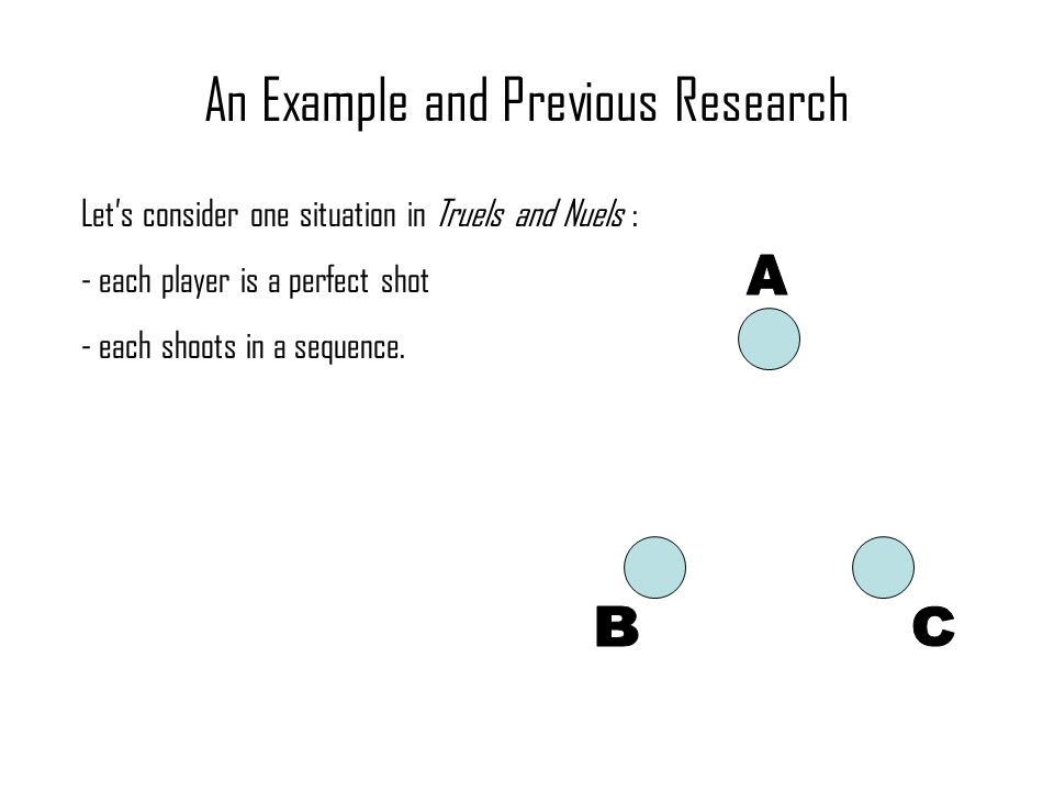 An Example and Previous Research Let's consider one situation in Truels and Nuels : - each player is a perfect shot - each shoots in a sequence.