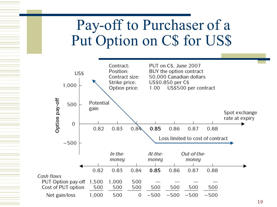 19 Pay-off to Purchaser of a Put Option on C$ for US$
