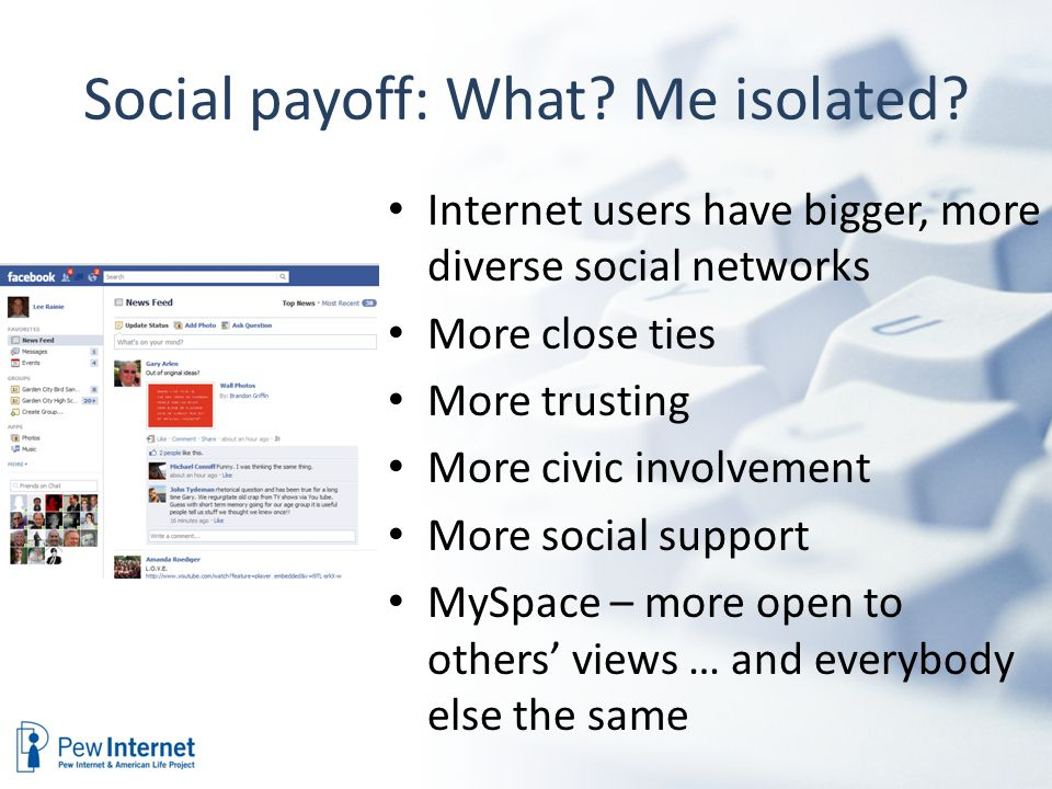 Social payoff: What. Me isolated.