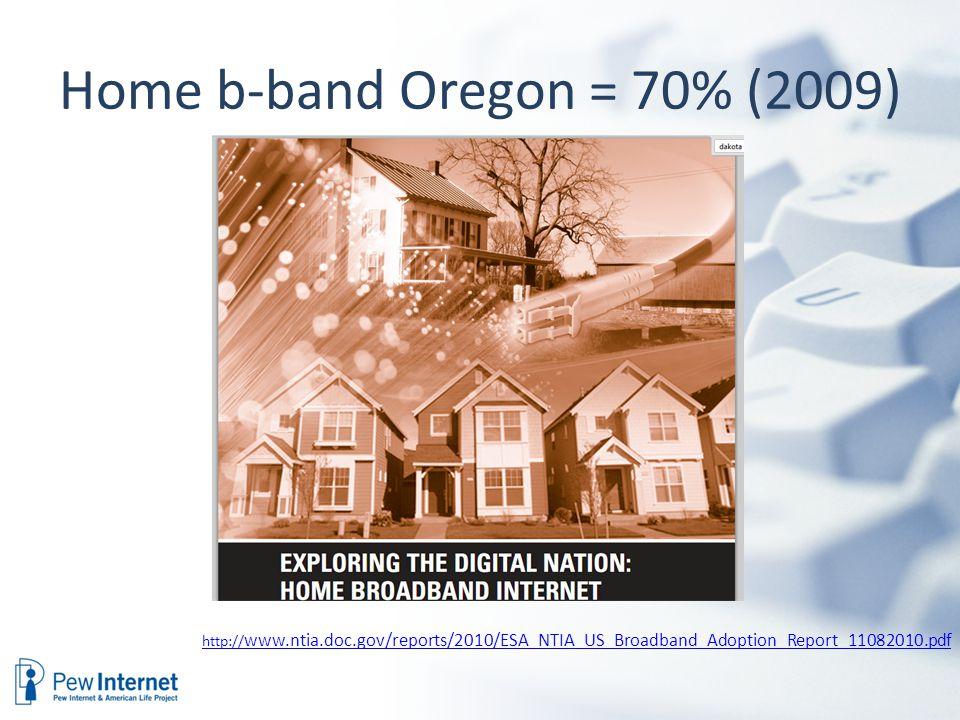Home b-band Oregon = 70% (2009) http:// www.ntia.doc.gov/reports/2010/ESA_NTIA_US_Broadband_Adoption_Report_11082010.pdf