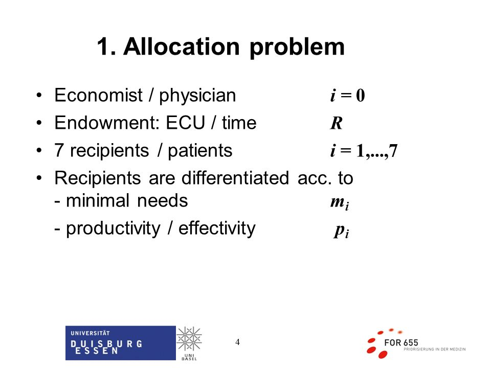4 Economist / physician i = 0 Endowment: ECU / time R 7 recipients / patients i = 1,...,7 Recipients are differentiated acc.