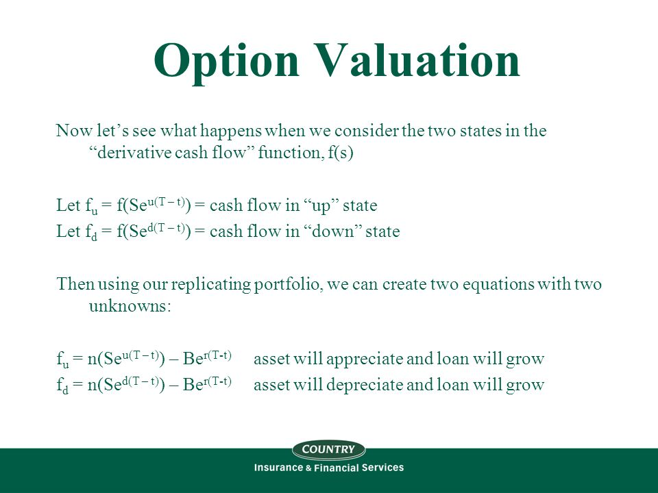 Option Valuation Now let's see what happens when we consider the two states in the derivative cash flow function, f(s) Let f u = f(Se u(T – t) ) = cash flow in up state Let f d = f(Se d(T – t) ) = cash flow in down state Then using our replicating portfolio, we can create two equations with two unknowns: f u = n(Se u(T – t) ) – Be r(T-t) asset will appreciate and loan will grow f d = n(Se d(T – t) ) – Be r(T-t) asset will depreciate and loan will grow