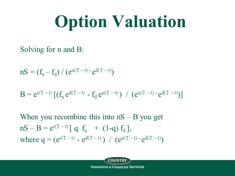 Option Valuation Solving for n and B: nS = (f u – f d ) / (e u(T – t) - e d(T – t) ) B = e r(T – t) [(f u e d(T – t) - f d e u(T – t) ) / (e u(T – t) - e d(T – t) )] When you recombine this into nS – B you get nS – B = e r(T – t) [ q f u + (1-q) f d ], where q = (e r(T – t) - e d(T – t) ) / (e u(T – t) - e d(T – t) )